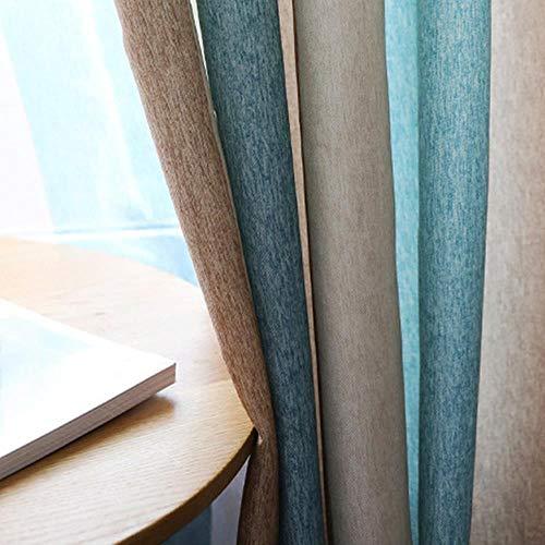 Blauw gestreepte verduisteringsgordijnen voor woonkamer Bruine mediterrane tule + gordijn voor slaapkamerraam luxe organza vitrage, bruine gordijnen, B100cm x H120cm