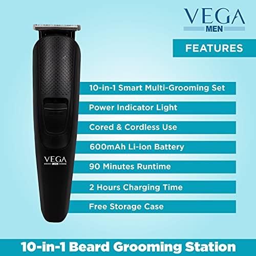 VEGA Men 10-in-1 Multi-Grooming Set with Beard/Hair Trimmer, Nose Trimmer & Body Groomer And Shaver, (VHTH-23), Black (85102000)