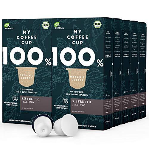 My Coffee Cup – RISTRETTO ITALIANO – BIO-KAFFEE 10 PACKUNGEN I 100 Kaffeekapseln für Nespresso®³-Kapselmaschinen I 100% industriell kompostierbare Kaffeekapseln – 0% Alu I Nachhaltige Kaffeekapseln