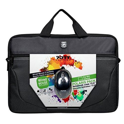 PORT DESIGNS Polaris Bundle Toploading 15.6 '' Notebook Case + USB Mouse, Black