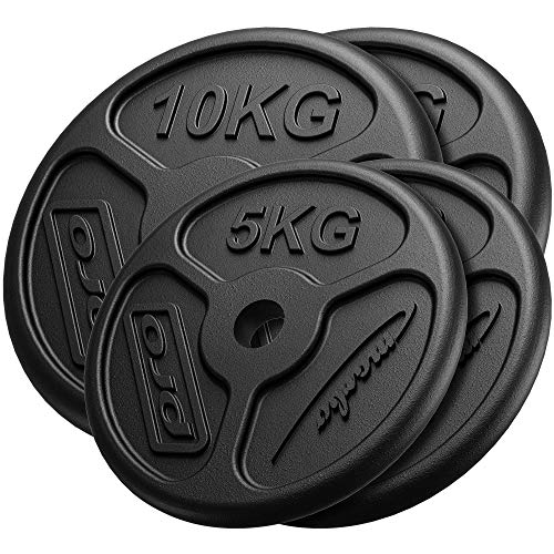 Marbo Sport Juego de Pesas Delgadas de Hierro Fundido 2 x 10 kg + 2 x 5 kg MW-2x10KG_2x5KG-SLIM
