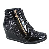Forever Link Women's Fashion Glitter High Top Lace Up Wedge Sneaker Shoes,Black,8
