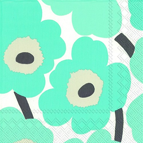 Marimekko Designer finlandais turquoise floral luxe Marimekko UNIKKO serviettes de table de Papier traditionnel 20 Pack