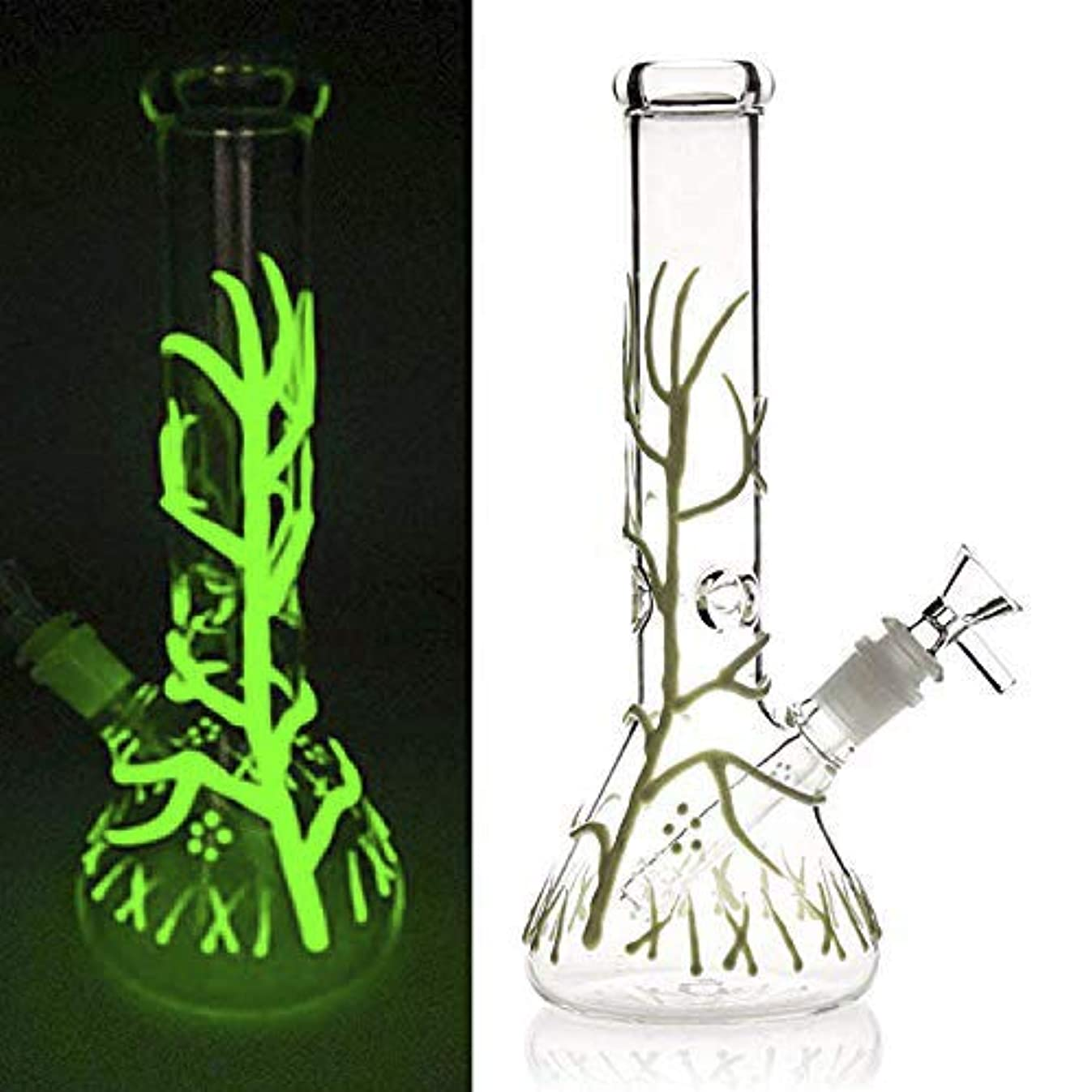 10.6 Inch Glass Smokīng Pīpe Crafts Tree Vines Glow in The Dark (Milky)