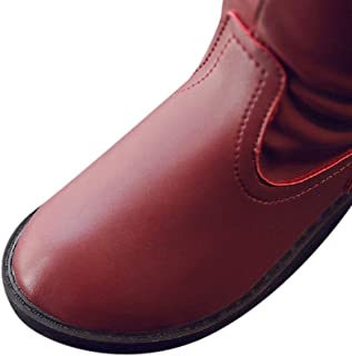 Hopscotch Girls PU Solid Knee Length Boots in Burgundy Color