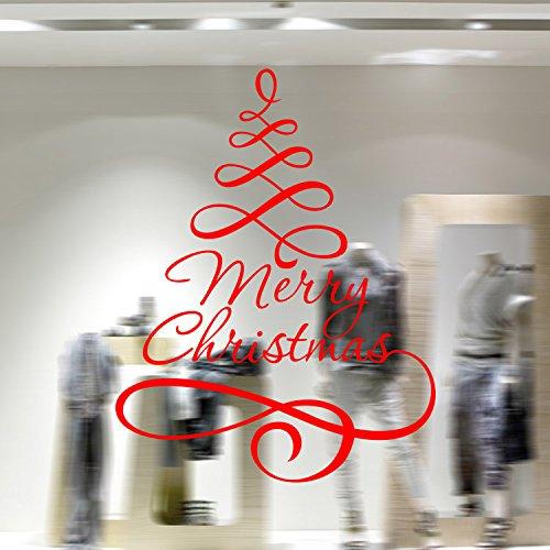 LNPP Adesivo da Parete Rimovibile Albero di Natale per Camera da Letto Decalcomania da Finestra, 75 * 58 cm, Red