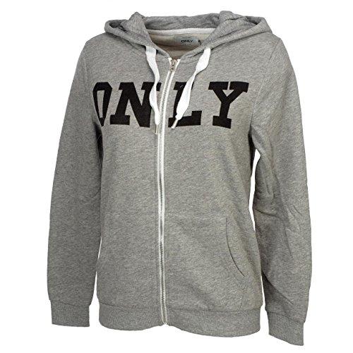 ONLY Damen onlBETTE Logo Zip Hood LS SWT Sweatjacke, Grau (Light Grey Melange Print:Black), 34 (Herstellergröße: XS)