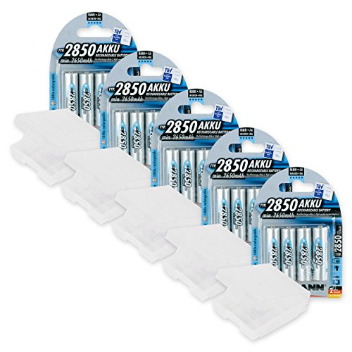 20 Battery Bundle Ansmann 2850 mAH AA NiMH Rechargeable Batteries with Free Battery Holders
