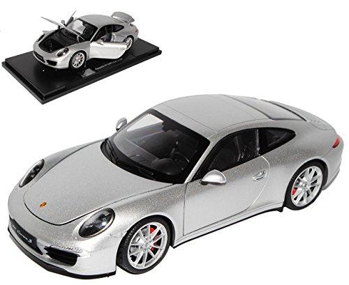 Welly Porsche 911 991 Carrera S Coupe Silber Grau Ab 2012 1/18 Modell Auto mit individiuellem Wunschkennzeichen