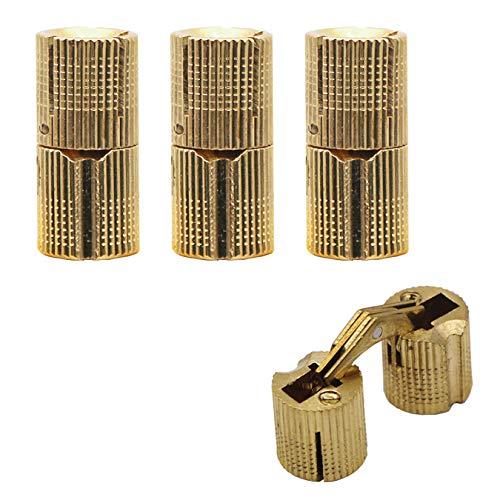 aufodara 4 pezzi cerniere nascoste in rame angolo di apertura 180° cilindro in ottone per gioielli fai da te artigianali, artigianato e porta dell'armadio (Ø 14 mm)