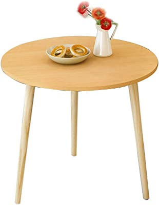 Single-Layer Round Table Sofa Side Table, Bedside Table Simple Modern Small Coffee Table,Wood Color, White (Color : Wood Color, Size : 50x49cm)