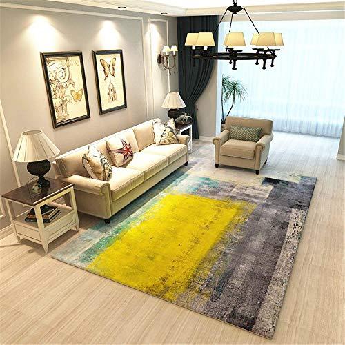 Antideslizante alfombras Sala de Estar Alfombra Rectangular Retro Gris Amarillo protección del Medio Ambiente a Prueba de Humedad decoración habitación Bebe Alfombra terraza 100X160CM 3ft 3.4' X5f