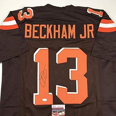 Autographed/Signed Odell Beckham Jr. Cleveland Brown Football Jersey JSA COA