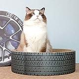 LITINGT Cartón rascador para Gatos, Papel Corrugado Redondo, Cuenco para Cama para Gatos, Tablero para rascar para Gatos, Garra para pulir, salón de Juguetes (Color: neumático)