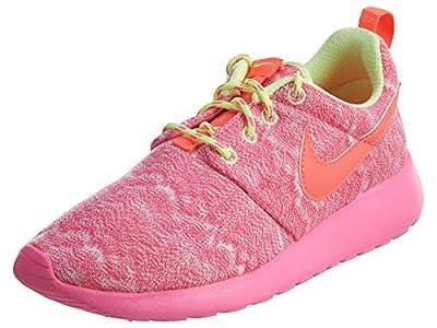 Nike Kids Rosherun (GS) White/Hot Lava/Lqd Lime/Pnk Pw Running Shoe 4 Kids US