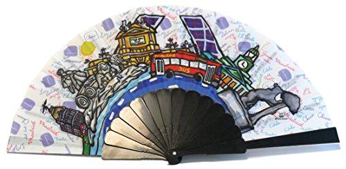 Nadal, Fiesta Souvenirs 393146, Abanico con Diseño Monumentos Madrid, Algodón y PVC, Negro, 23x2x2 cm