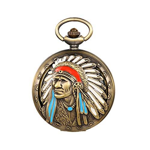 JewelryWe Taschenuhr Herren Analog Quarz Vintage Indianer Alter Mann Uhr Pocket Watch mit Halskette Kette