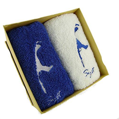 osters muschel-sammler-shop 2X Gästetuch 30x50cm / blau und Weiss/Baumwolle/Motiv Sylt/Sylter Motiv/Bestickt in attraktiver Geschenkbox