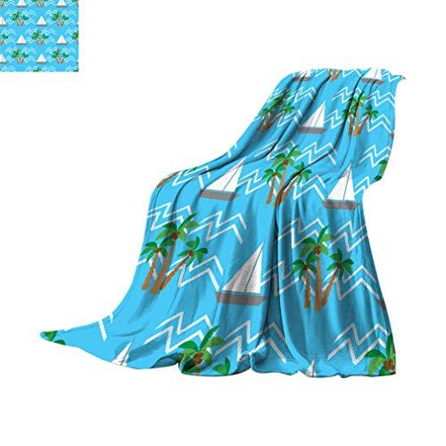 Manta de forro polar de tamaño doble, patrón tropical, palmeras de coco, barcos de vela y olas de verano, para todas las estaciones, mantas mullidas para sofá cama, 80 x 60 pulgadas