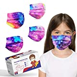 Kids Size Disposable Face Masks, Tie Dye Masks for Boys Girls Individually Wrapped, Childrens Cute Face Mask with Design, Colored Sport Face Cover Mask for School, Small Breathable Kids Mask for Petite Face - 50 Packs