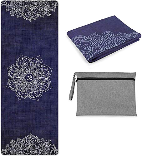 Kuyou Yoga Mat Foldable 1/16 Inch Thick Non-Slip Travel Yoga Mat Cover Pad Sweat Absorbent...