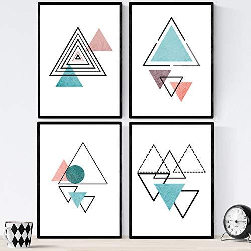 Nacnic Set de 4 láminas para enmarcar Formas Y Fuerzas. Posters Estilo nórdico. Láminas con Formas geométricas en Tonos Azules y Marrones. Tamaño A4. Lámina Impresa en Papel (250 Gramos)