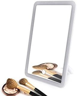 AINIYF Makeup Mirror LED Lighted Vanity Mirror 180° Rotation Cosmetic Mirror with Touch Screen Dimming(203x135x30mm)