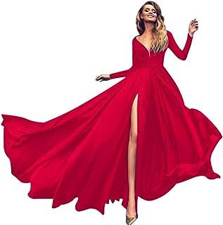 Lungo Vestito Donna,Lingerie Intimo da Donna,Vestiti da Donna,YanHoo Manica Lunga da Donna con Scollo a V Sexy Soletta Sli...