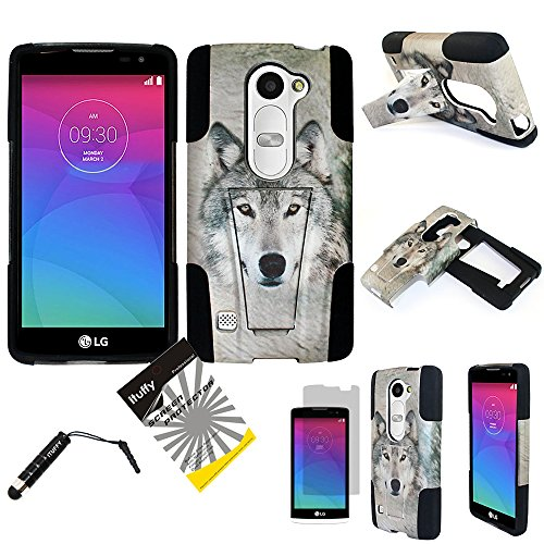 For LG Tribute2 LS665/LG Tribute Duo/LG RISIO/ LG Leon H320 /LG Power /LG Destiny/LG Sunset/ITUFFY LCD Film+ Stylus Pen+ Dual Layer Impact Resist Kickstand Hybrid Case (Grey Wolf - Black)