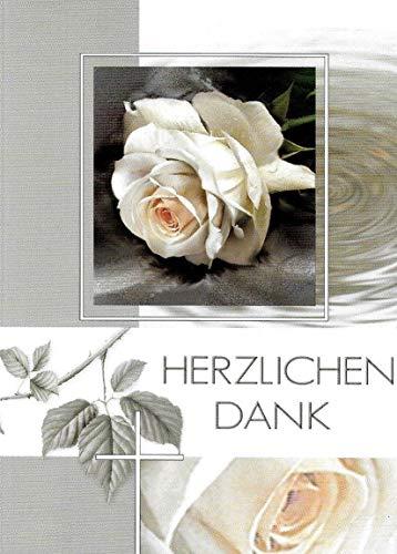 Trauer Danksagungskarten Trauerkarten mit Innentext Motiv Rose 10 Klappkarten DIN A6 im Hochformat mit weißen Umschlägen im Set Dankeskarten Dankeschön Karten Kuvert Danke sagen Beileid K254