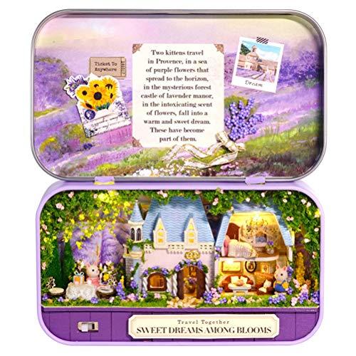 Deeabo Box Theater Diy Holzhaus für Puppen, Miniaturhaus Nostalgisches Thema Puppenhaus Möbel Zubehör Diy Montieren Haus Sammelgebäude Dekoration mit Led Kleine Lichterkette