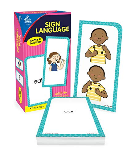 Carson Dellosa American Sign Language Flash Cards—Double-Sided, 122 ASL Signs With Illustrations and Word Associations, Alphabet, Numbers, Feelings, Animals, Food, Practice Set (105 pc)