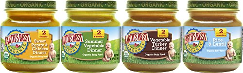 Earth's Best Organic Stage 2 Baby Food, Delicious Din Din Variety Pack, 4 oz. Jar (12 Count)