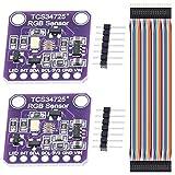 Youmile 2PCS TCS-34725 TCS34725 Módulo de color de luz RGB Sensor de reconocimiento de color con filtro IR y LED blanco para Arduino con cable Dupont