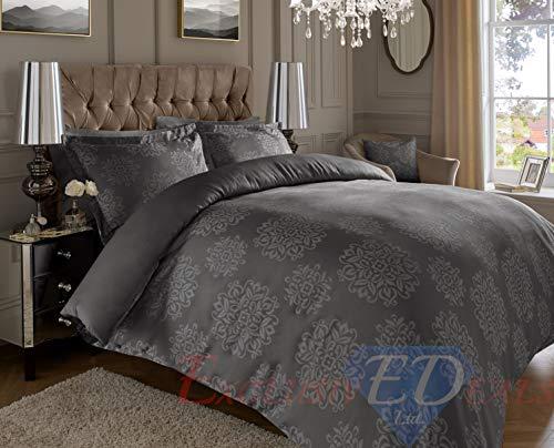 ED Luxurious Jacquard 600 Thread Count Super Soft Cotton Rich Warm Damask Ornamental Duvet Cover Set With Oxford Pillowcases (Super King, Dark Grey Ornamental)