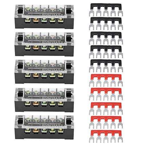 Qiilu Bloques de terminales de tornillo y tiras de barrera de terminales, 5 piezas de doble fila 5 posiciones 600V 15A bloque de terminales de tornillo+10 tiras de barrera de terminales preaisladas