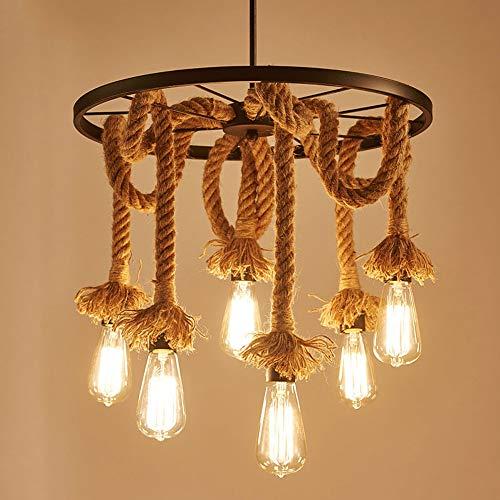 Lustre Suspension en Corde de Chanvre, iDEGU E27 Lampe Suspension Luminaire Industrielle Creative DIY Plafonnier pour Salle à Manger Salon Café Restaurant (6 lampes)
