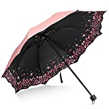 Sakura Umbrella-Windproof Anti Rain/Sun,Cherry Blossom Folding Umbrella (Pink)