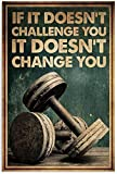 No1Store Fitness If It Doesn't Challenge You It Doesn't Change You Poster, Funny Wrestler Gym Bodybuilder Wall Art Framed Canvas for Birthday, Halloween, Xmas