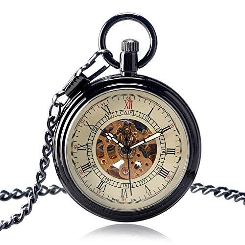 LXDDP Orologio da Tasca Automatico Nero di Moda Classico Scheletro di Orologio Antico Squisito per Uomo Donna Compleanno