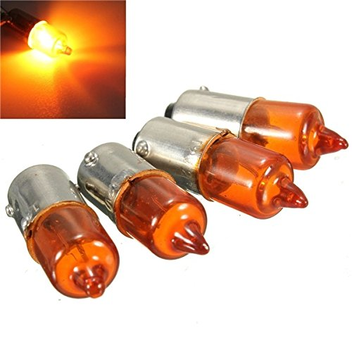 ILS - 4 pieces 12V 23w Motorcycle Turn Singal Indicator Bulb BA9S Base Mini Amber Halogen