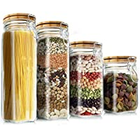 4-Piece Elegant Life Airtight Food Jars with Lids Upside Down Safely