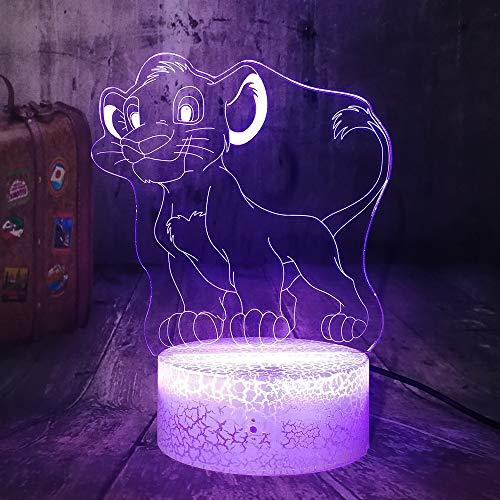 Zhuhuimin Petit Simba Le Roi Lion Dessin Animé 3D LED Veilleuse RGB 7 Couleur Craquelé Blanc Base Lampe De Table Décor À La Maison Enfant Garçon Cadeau d'anniversaire