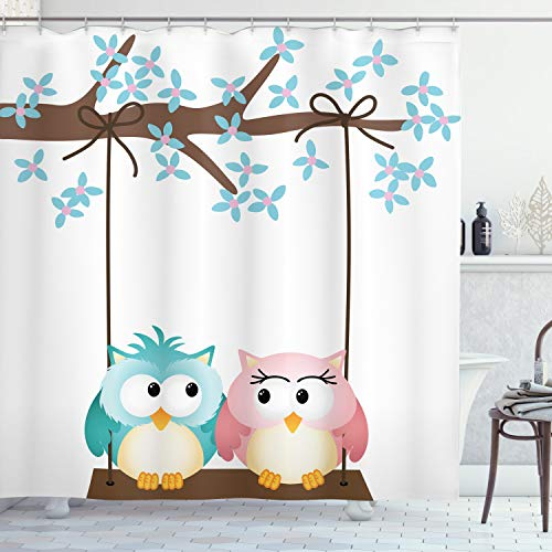 Two Owls in Love on a Swing attached to a Blossoming Tree Branch