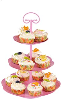 Wideny 3 Tier Metal Cake Stand and Fruit Plate, Cupcake Holder Display Buffet Stand for Wedding Home Decor Birthday Party and Other Occasions yz1819 (Pink)