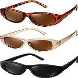 3 Pares Gafas de Sol Rectangulares Vintage Retro Gafas de Sol con Montura Estrecha Plástica Fornida Gafas Pequeño Delgadas para Mujeres y Hombres