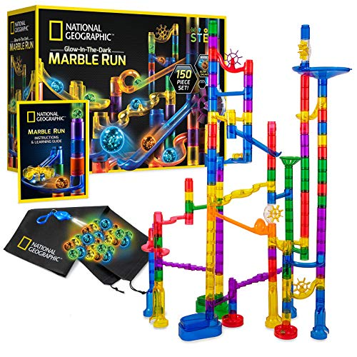 NATIONAL GEOGRAPHIC Glowing Marble Run – 150 Piece Construction Set with 30 Glow in the Dark Glass Marbles, Mesh Storage Bag, Great Creative STEM Toy for Girls and Boys, multicolor