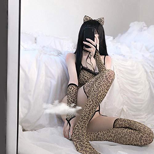 Lencería y ropa interior para mujeres Conjuntos de lencería erótica para mujer Lencería sexy estampado de leopardo cosplay mujer animal salvaje disfraz de Halloween club nocturno gato vestido de luj