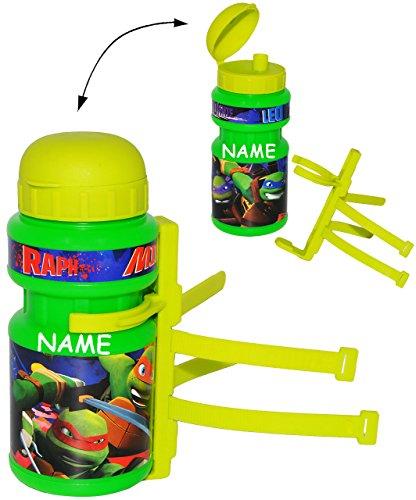 alles-meine.de GmbH Fahrradtrinkflasche -  Teenage Mutant Ninja Turtles  - incl. Name - 360 ml - mit Halterung / Halter für Kinder Fahrradflasche - Fahrrad Trinkflasche - unive..
