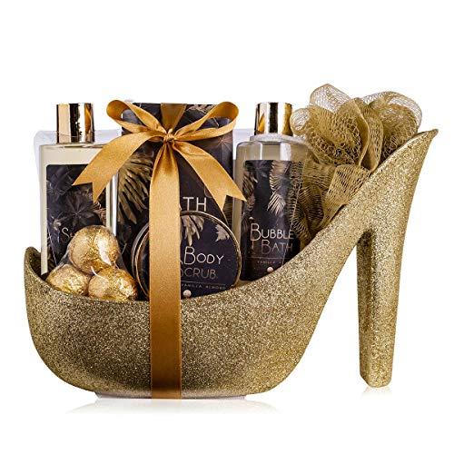 accentra Luxury Badeset Geschenkset in wunderschönem goldenem Glitzer Pumps, 9-teiliges Luxus Beautyset Pflegeset Duschset – für ein entspanntes SPA Erlebnis